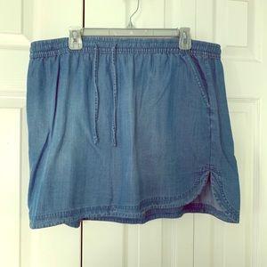 Merona blue chambray drawstring mini skirt